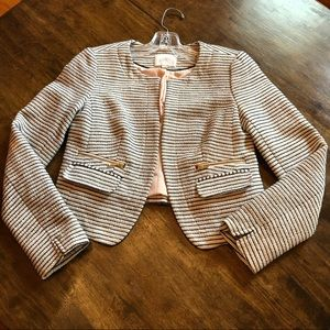 LOFT Tweed Black and White striped Blazer Size 2